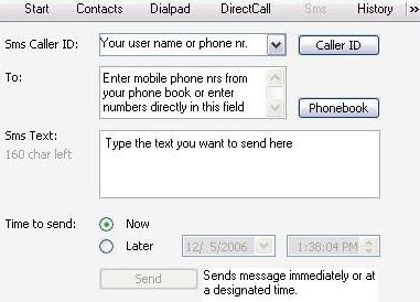 Sending text messages (SMS) via Internetcalls